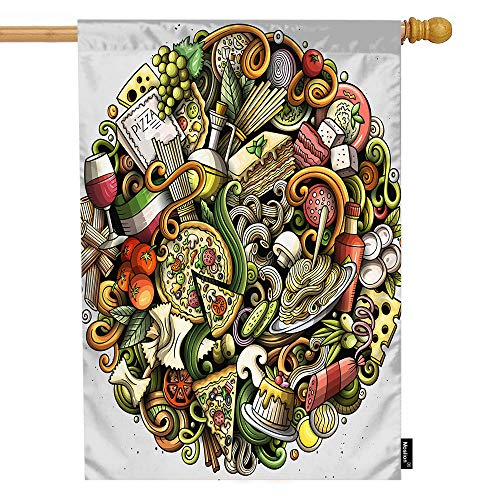 Moslion Doodle House Flag Italian Junk Food Circles Noodle Mushroom Wine Cheese Pasta Pizza Garden Flags 28x40 Inch Double-Sided Banner Welcome Yard Flag Home Outdoor Decor. Lawn Villa]()