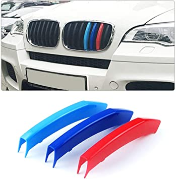 3pcs M-colored Front Grille Grill Insert Decoration For BMW X6 E71 2013 2014