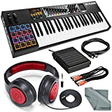 M-Audio Code 49 49-Key USB-MIDI Keyboard Controller with X/Y Touch Pad and Deluxe Bundle w/ Closed-Back Headphones + Sustain Pedal + Cables + Fibertique Cloth