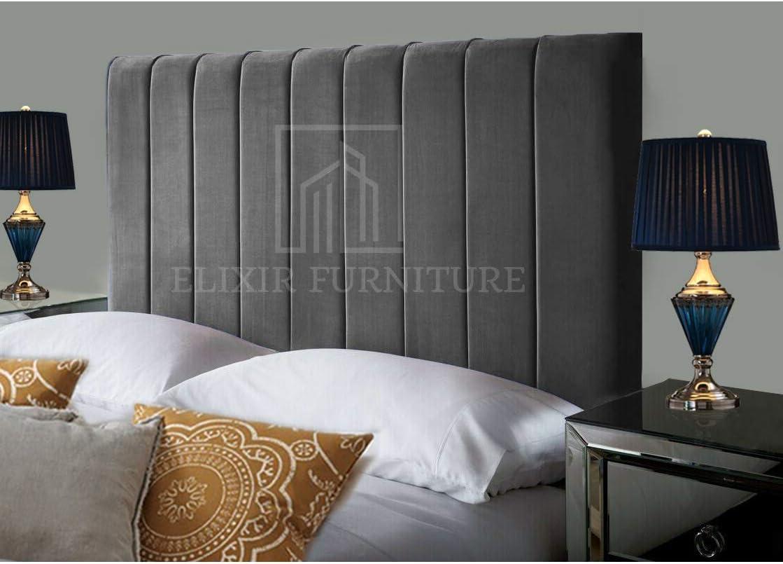 Portland Handmade Headboard Divan Bed Bedroom Decor Hotel Furniture Plush Velvet Burgundy, Small Single 2ft6, Height 36 inch