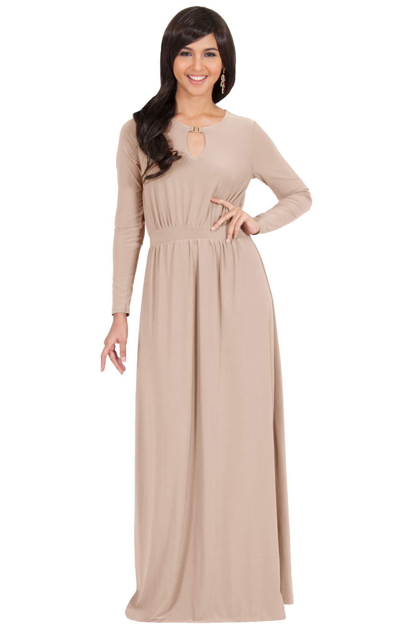 961ba67c5e6 KOH KOH Plus Size Womens Long Sleeve Sleeves Modest Flowy Fall Winter  Formal Empire Waist Evening Day Work Casual Abaya Muslim Wedding Gown Gowns  Maxi Dress ...