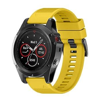 Correa de reloj inteligente Wawer Garmin Fenix 5X GPS, 26 mm de ancho, de instalación rápida, color amarillo: Amazon.es: Deportes y aire libre