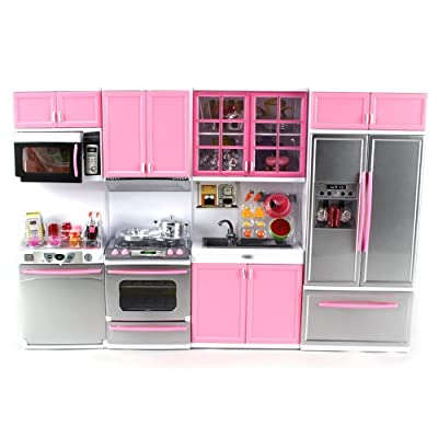 "'Deluxe Modern Kitchen' Battery Operated Toy Kitchen Playset, Perfect for Use with 11.5"" Tall Dolls: Toys & Games"