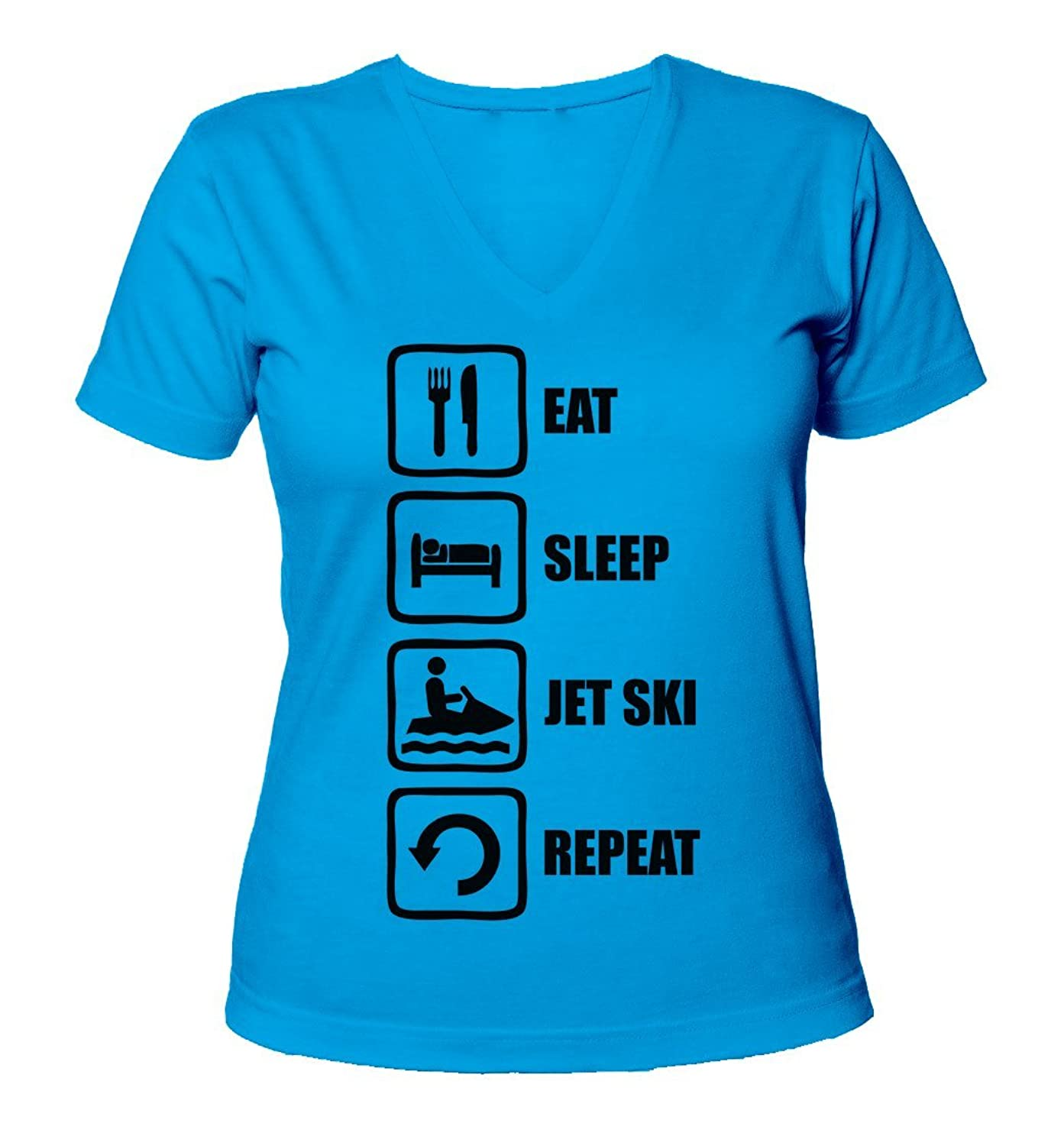 Eat Sleep Jet Ski Repeat Black Graphic Women's V-Neck T-Shirt