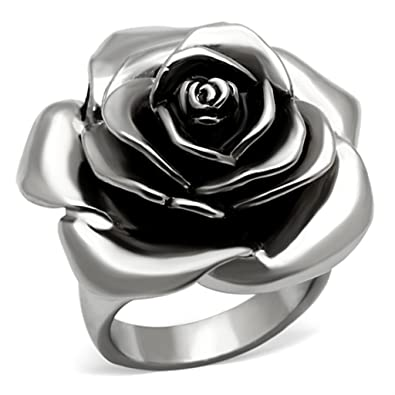 Amazon.com: Anillo de mujer de acero inoxidable epoxi negro ...
