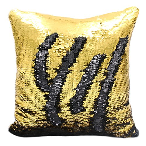 Sengreat 16x16 Inch Mermaid scales Sequins Magic Reversible Sequin Home Decorative Pillow covers Throw Cushion covers Gold and Black