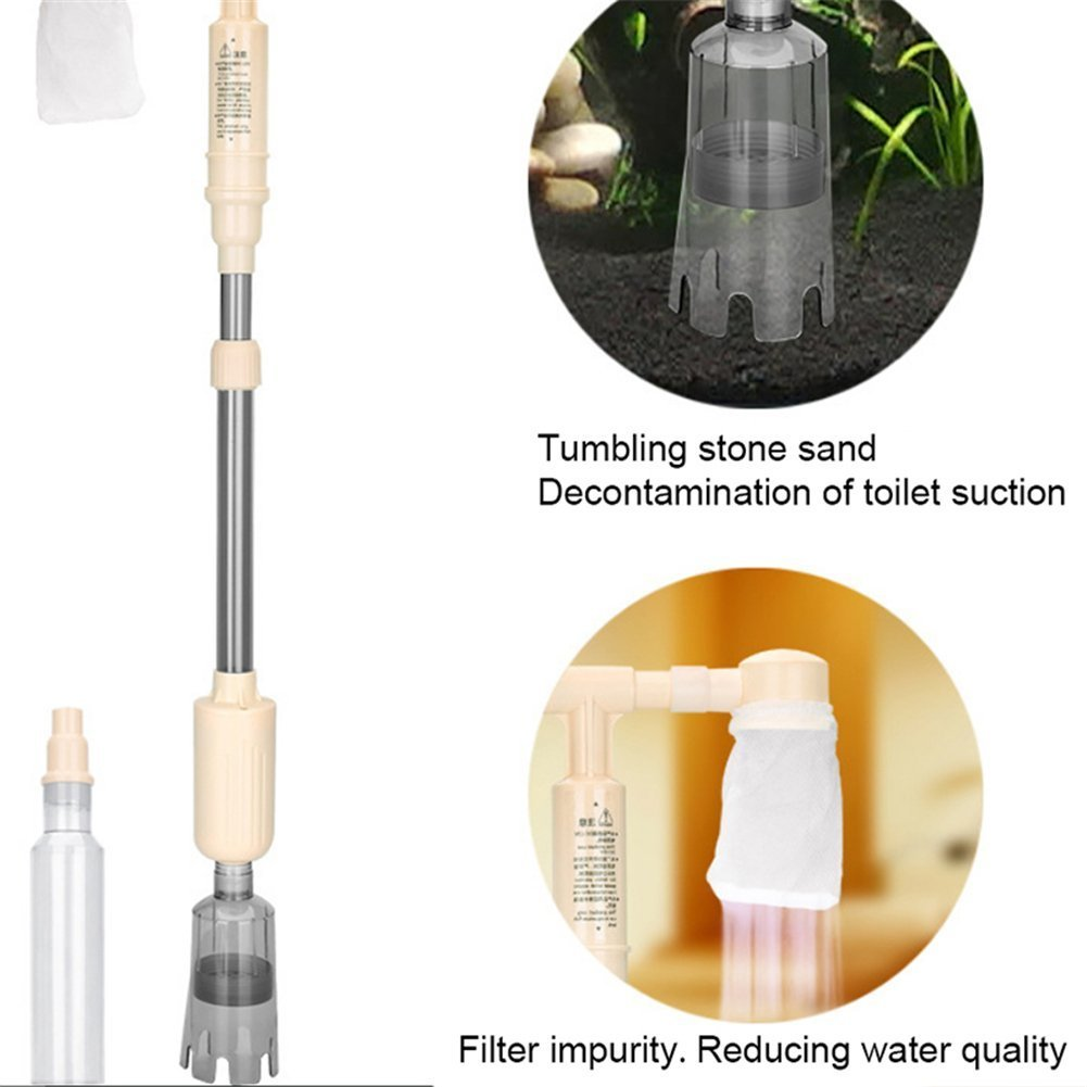 Norbee Gravel Vacuum Siphon Cleaner Fish Tank Water-Changing Device Water Filter Cleaning Tool Moss and Stain Removal Fish Waste Excreta Sand Cleaner for Aquarium