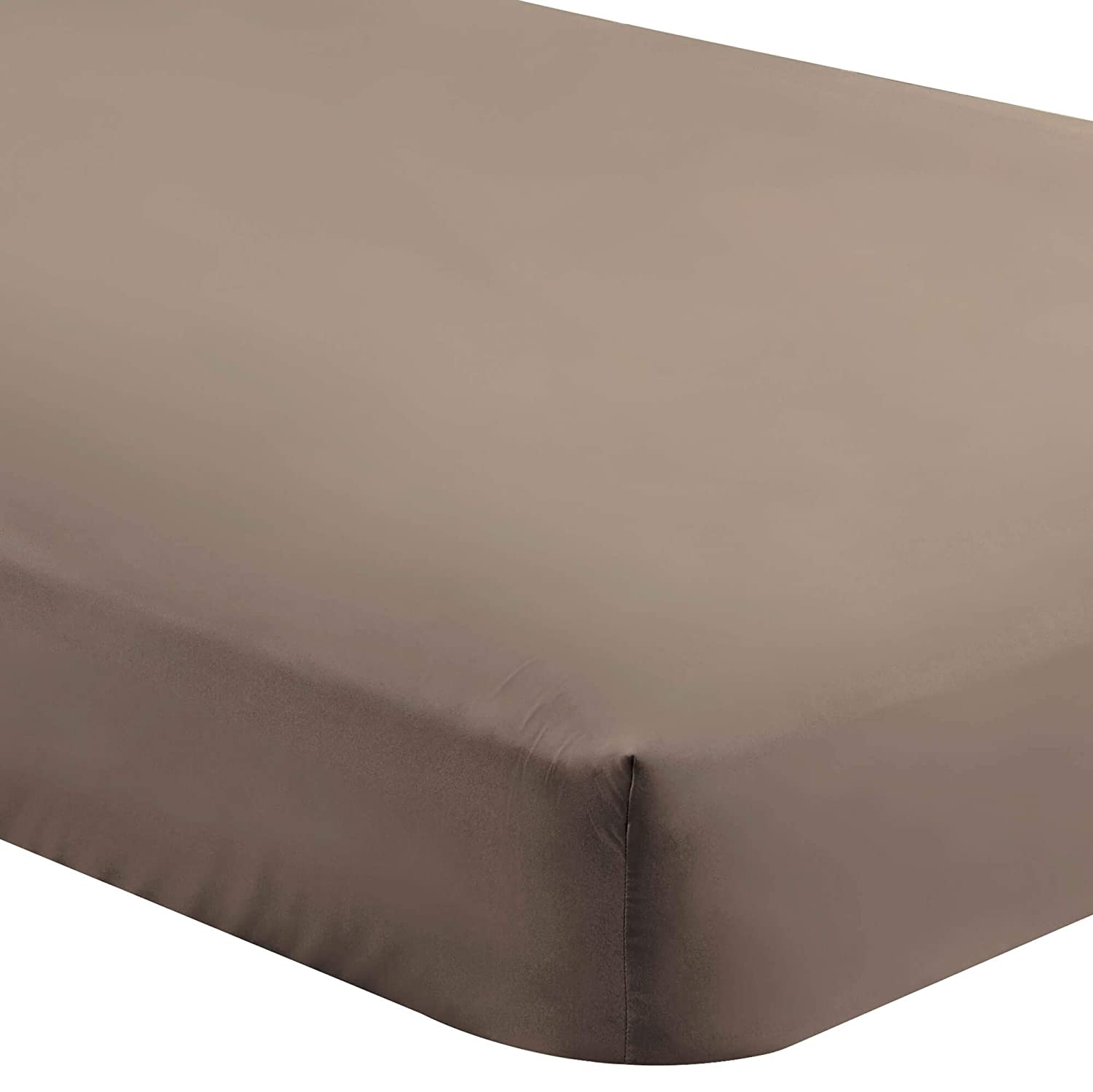 Bare Home Fitted Bottom Sheet Queen - Premium 1800 Ultra-Soft Wrinkle Resistant Microfiber - Hypoallergenic - Deep Pocket (Queen, Taupe)