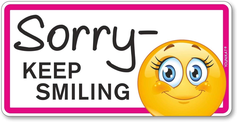 Fahrzeug Aufkleber Sorry Keep Smiling I 20 X 10 Cm I Vorsicht Achtung Fahranfänger In I Autoaufkleber Wetterfest I Mit Smiley I Kfz 313 Auto