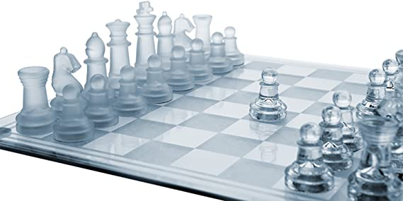 House Of Gifts Glass Chess Set Featuring Frosted and Clear Glass Pieces and Glass Board
