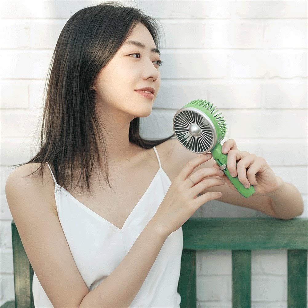 Color : Green Mini Portable Cooling Fan 5 Blades Retro Portable Cooling Fan 2000mAh 3 Levels Wind Speed Slide Switch Handy Fan USB Rechargable