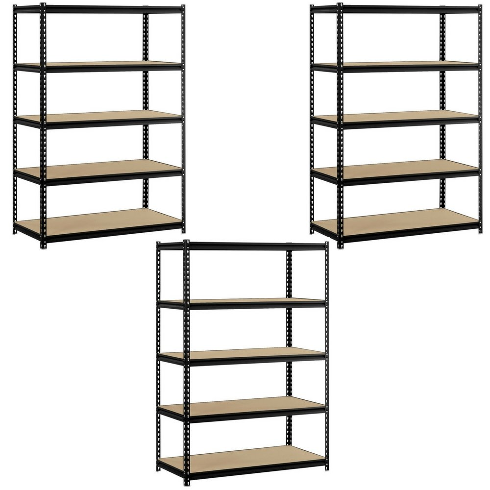 Heavy Duty Garage Shelf Steel Metal Storage 5 Level Adjustable Shelves Unit 72'' H x 48'' W x 24'' Deep (3 Pack)