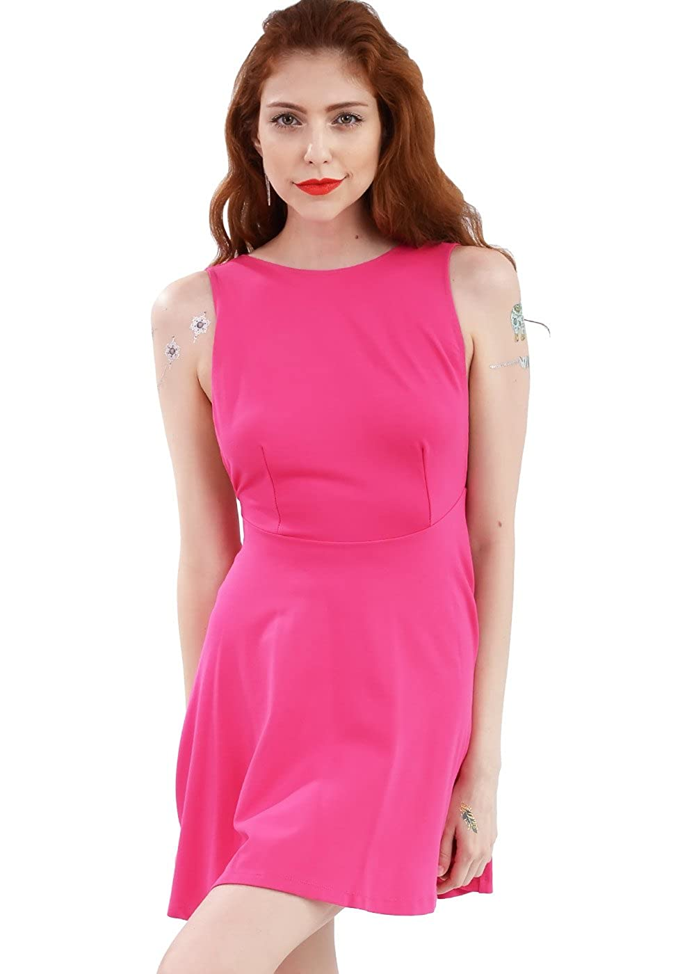 7c3981f224 Amazon.com  Wink Gal Women A line Backless Round Neck Sleeveless Cocktail  Mini Casual Dress  Clothing