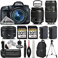 Canon EOS 7D Mark II Digital SLR Camera + Canon EF-S 18-55mm IS STM Lens + Canon 50mm 1.8 II Lens + Tamron 70-300mm Lens + Battery Grip. All Original Accessories Included - International Version