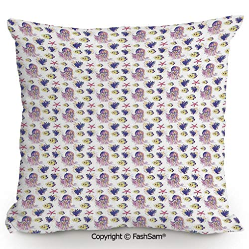 Coral Needlepoint - FashSam Home Super Soft Throw Pillow Aquarium Nature Underwater Life Colorful Illustration with Jellyfish Starfish Coral for Sofa Couch or Bed(18