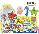 Conquer Baby - Bath Toys for Toddlers Kids Girls | Sticks to Wet Wall Foam Toys - Mermaid Unicorn Sea Animals + Bathtub Toy Organizer Storage Set, Preschool Educational Floating Water Toys - 30 P