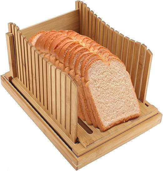 Rebanador de Pan Cocina Rebanado de Sándwich Plegable con Bandeja de Captura de Migajas para Cortar Pan Tostado Pan Sándwich Jamón Queso Y Verduras: Amazon.es: Hogar