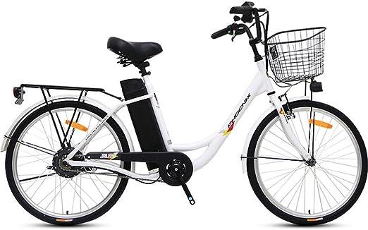 24 pulgadas de 250W por carretera bicicleta eléctrica Sporting sin escobillas del motor de engranajes con 36V10A batería de litio extraíble impermeable de gran capacidad y cargador de batería,Blanco: Amazon.es: Hogar