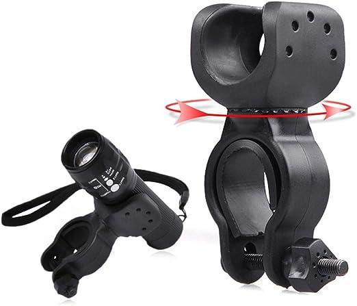 Black 360°Rotation Torch Clip Mount Bike Front Light Bracket Flashlight Holder