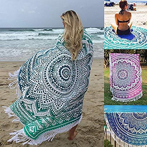 Toalla de Playa Redonda Microfibra, Morbuy Grande Mujer Hombre Niña Multi-Funcional para Toalla Yoga Acampar Picnic Mantel Decoración Blanket Tapiz (150 ...