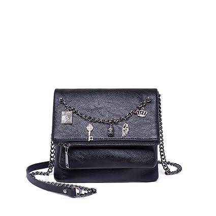 Sunmiao Simple Retro Chain Decorative Zip Shoulder Strap PU PU Shoulder Bag Messenger Bag Black