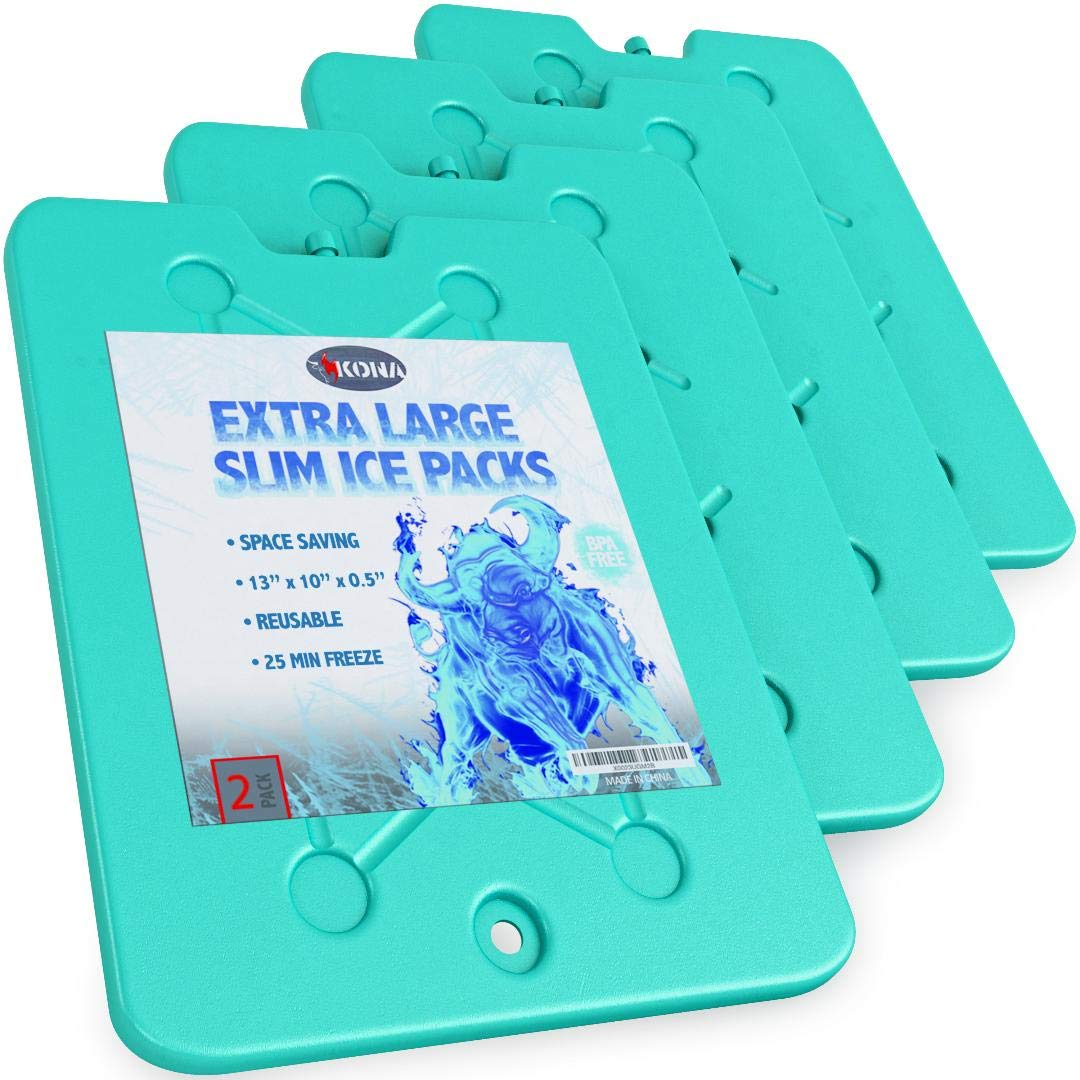 Kona Large Ice Packs for Coolers - Slim Space Saving Design - 25 Minute Freeze Time (4) by Kona