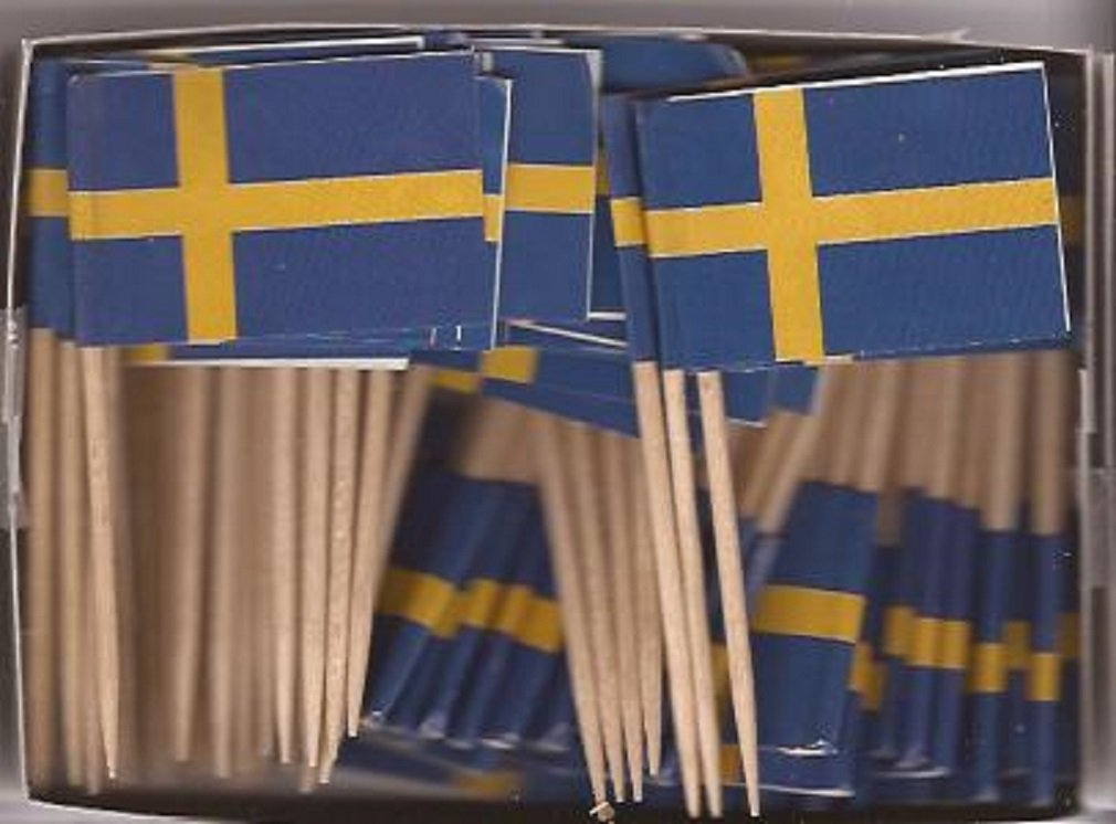 25 Box Wholesale Lot of Sweden Toothpick Flags, 2500 Small Mini Swedish Flag Cupcake Toothpicks or Cocktail Picks