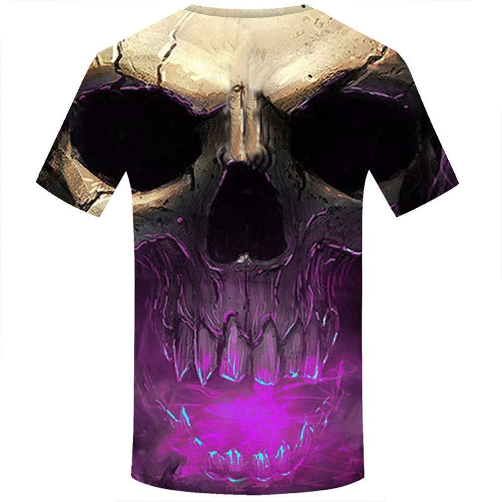Allywit Skull T Shirt Skeleton T-Shirt Gun Tshirt Gothic Shirts Punk Tee 3D t-Shirt Anime Male Styles Purple by Allywit-Mens (Image #2)