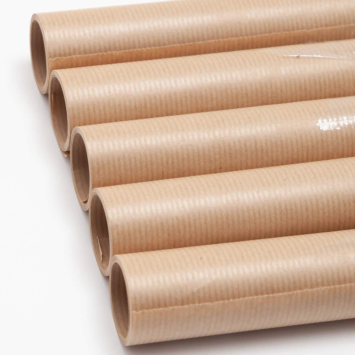 5 Rotoli di carta regalo 300 x 70 cm Kraft incovel