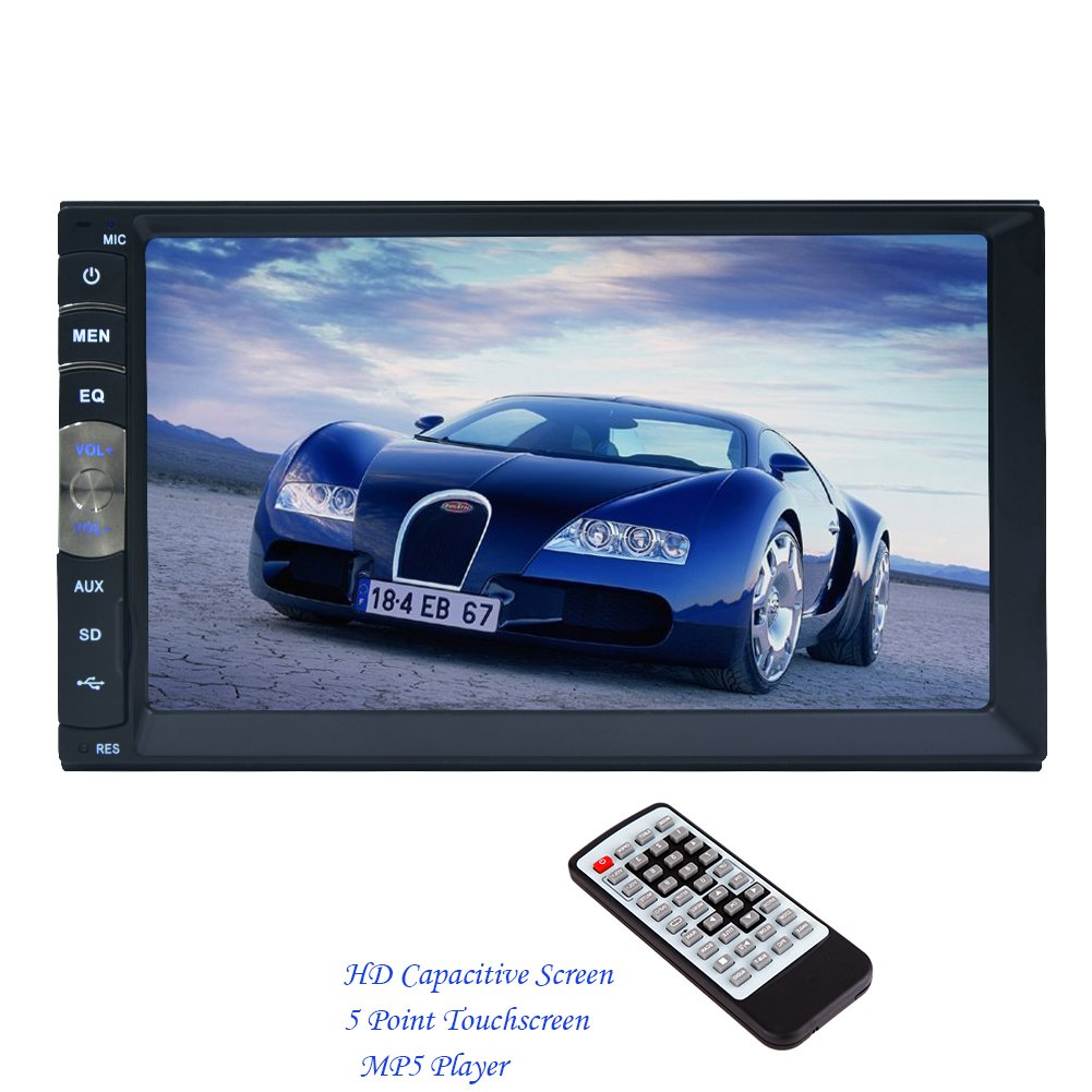 2 DIN 7 Inch HD Capacitive Multi-Touch LCD Screen Car Radio Stereo MP5 Player Support Bluetooth Hands Free 1080P Movie Player GPS Mirror Link From Rear View Camera (7010B)
