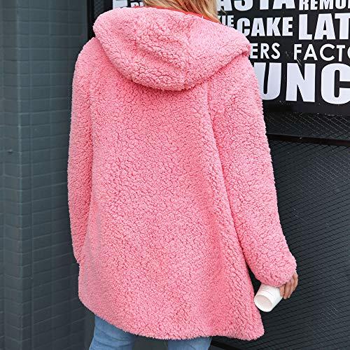 Lana Donna Da Invernale cappotti cappuccio Calda Cappotto Sintetica Cappotto Pelliccia cappotto Donna Per In Dicroica Frgn06r