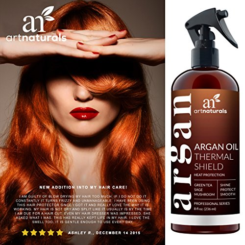 ArtNaturals Thermal Hair Protector Spray - 8.0 Oz - Protective Spray against Flat Iron Heat - Contains 100% Organic Argan Oil Preventing Damage, Breakage & Split Ends - Made in the USA - Sulfate Free by ArtNaturals (Image #3)