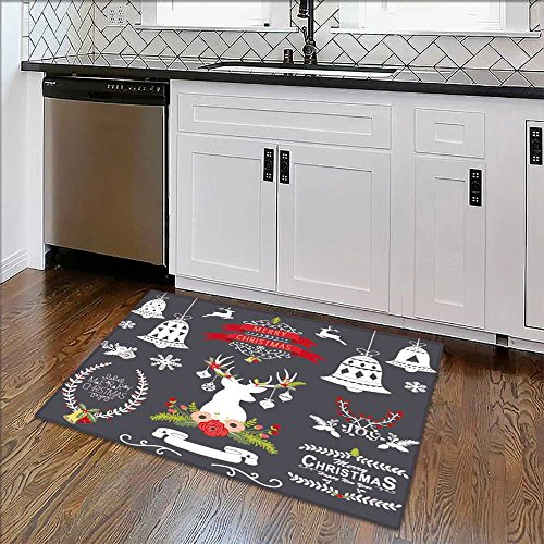 Machine-Washable Large Bathroom Mat Christmas Chalkboard Collection Non-Toxic Non-Slip Reversible Waterproof W34