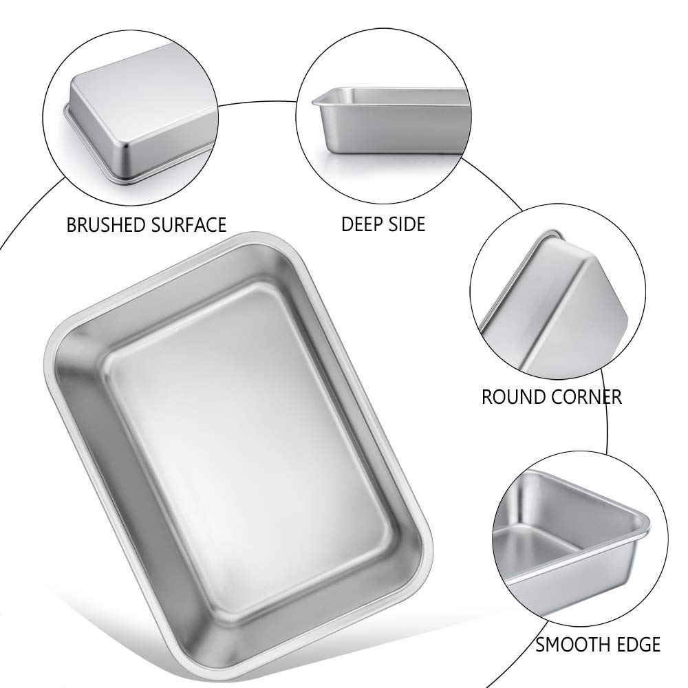 TeamFar Lasagna Pan Set of 2, Brownie Pan Rectangle Cake Pan Stainless Steel, Heavy Duty & Healthy, Easy Clean & Dishwasher safe, Brushed Surface-13 & 10 inch by TeamFar (Image #3)