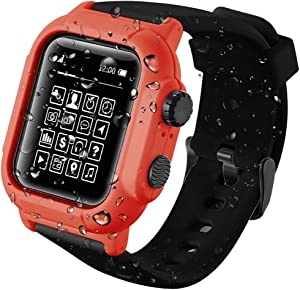 Apple Watch Series 5/4 44mm IP68 Waterproof Case,Waterproof Case for Apple Watch 42mm Series 3/2,Full Body Protective Case with Soft Silicone Band (Red+Black, 44mm Apple Watch Series 5/4 Case)
