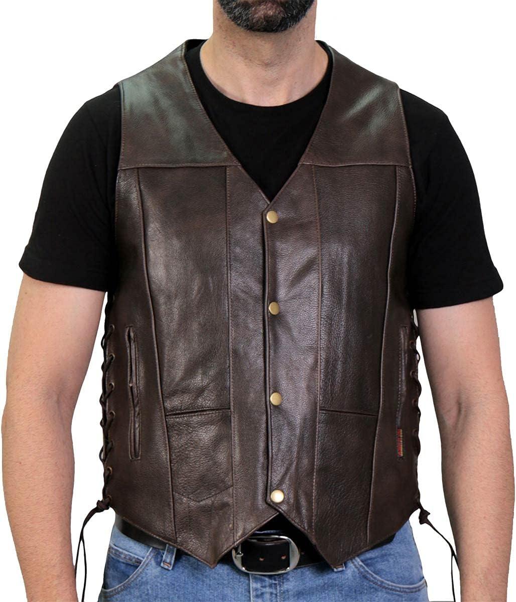 Hot Leathers VSM1040 Men's Retro Brown 'Side Lace' Club Leather Vest - 3X-Large