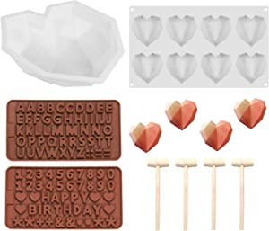 LABOTA Diamond Heart Shape Silicone Cake Mold Chocolate Heart Mousse Cake Mold Tray Chocolate Mousse Dessert Baking Pan Silicone Letter Mold and Number Chocolate Mold with 4 Pcs Wooden Hammers