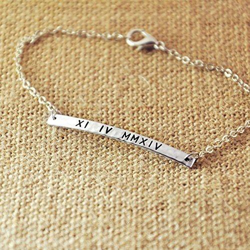 Personalized Roman Numeral Bar Bracelet, Alloy Hammered Bracelet, Custom Roman Numeral Date, Personalized Date Bracelet, Bridesmaid Gift