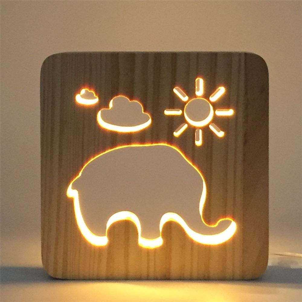 AYWJ Creative Foot Shape Wooden Led Light 3D USB Hollow Out Bedroom Night Light Decoration Home LED Lamp Children Baby, J by AYWJ