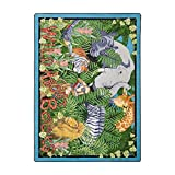 Joy Carpets Kid Essentials Language & Literacy Wild About Books Rug, Multicolored, 5'4'' x 7'8''