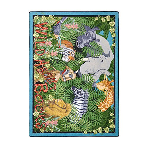 Joy Carpets Kid Essentials Language & Literacy Wild About Books Rug, Multicolored, 5'4'' x 7'8'' by Joy Carpets