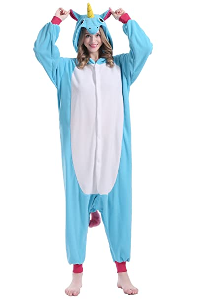 brlmall Unisex Adulto Pijama – Peluche One Piece Pijamas Disfraz de Unicornio Animal