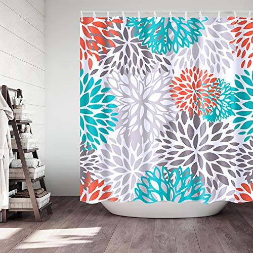 orange and grey shower curtain - 3