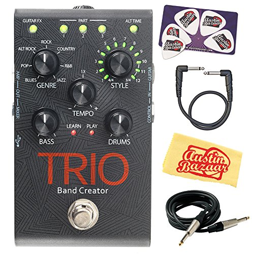 DigiTech TRIO Band Creator Guitar Pedal Bundle with Gearlux Instrument Cable, Patch Cable, Picks, and Austin Bazaar Polishing Cloth -  TRIO-COMBO-STD
