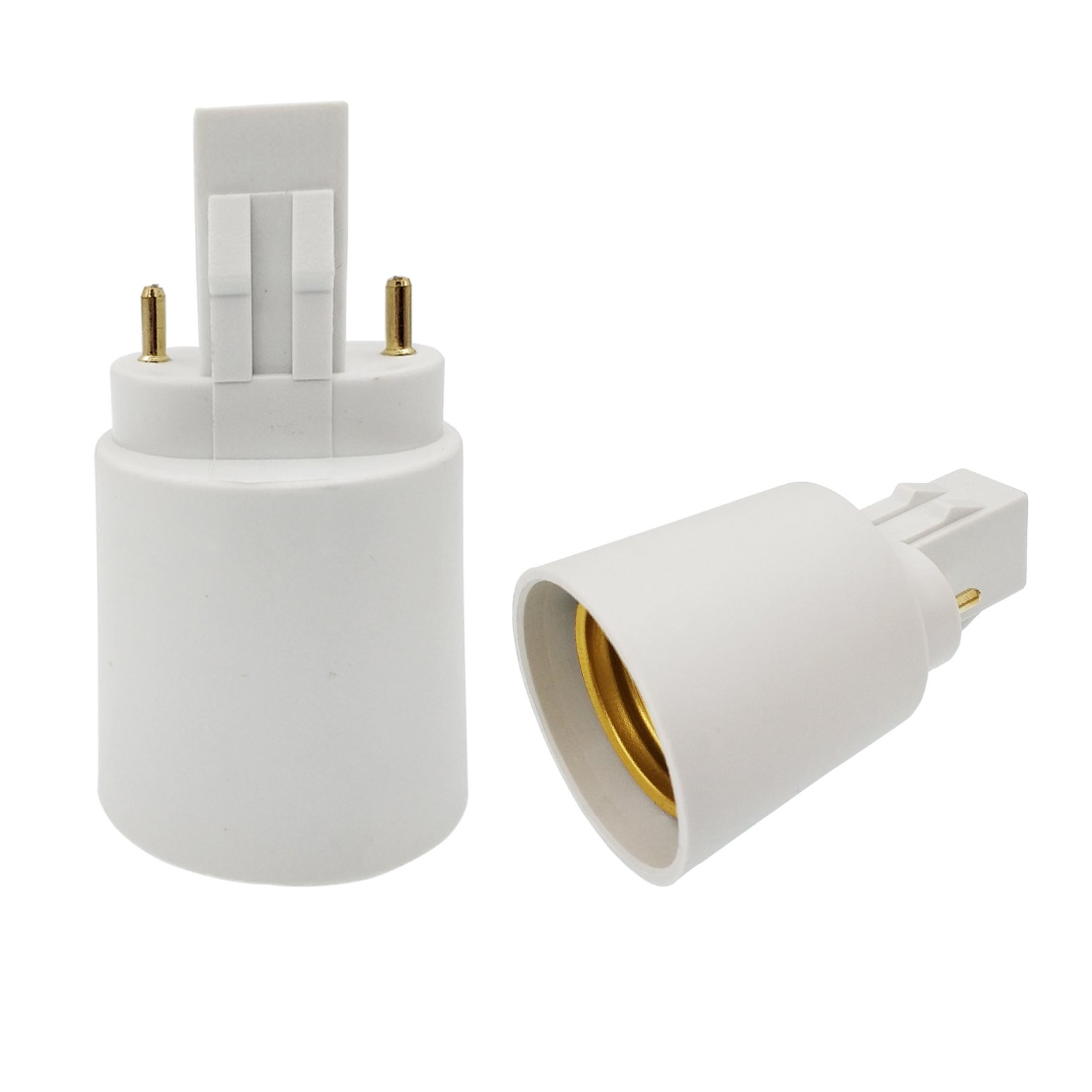 E-Simpo 10pcs GX23 to E26 Light Socket Adapter GX23 to E26/e27 Lamp Base Converter, 2Pin Light Sockets Adapter Double Tab.2P in Parallel (10-Pack)