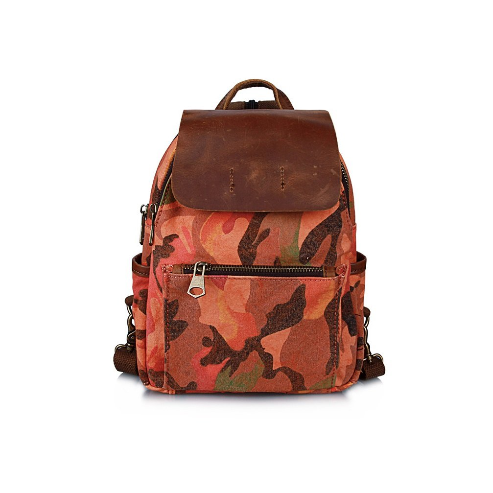 9493e8933e74 Amazon.com   YCLED Camouflage Backpack Retro Canvas Backpack Casual Travel  Hiking Unisex School Bag (Color   A)   Sports   Outdoors