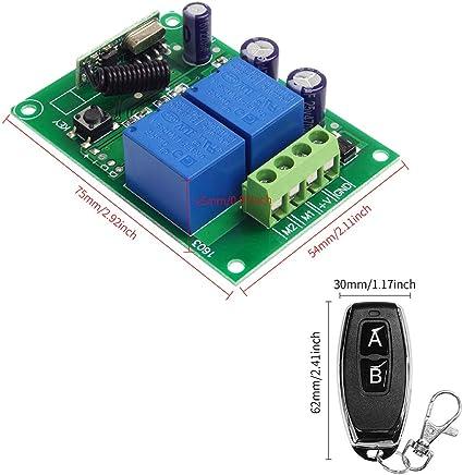 Auto Licht 50 Meter Lange Reichweite QIACHIP Universal Wireless Relais Modul 12V 1CH Fernbedienung Lichtschalter Empf/änger RF 433Mhz mit 2 Smart Transmitters f/ür Eingangskontrolle