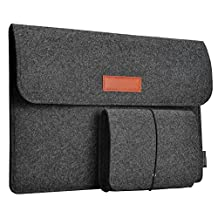 dodocool Laptop Felt Sleeve Envelope Cover Ultrabook Carrying Case with Mouse Pouch (Dark Gray 13.3 inch)
