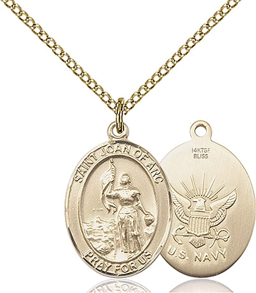 Joan Of Arc//Navy Pendant GF Lite Curb Chain Patron Saint Soldiers//France 3//4 x 1//2 14kt Gold Filled St