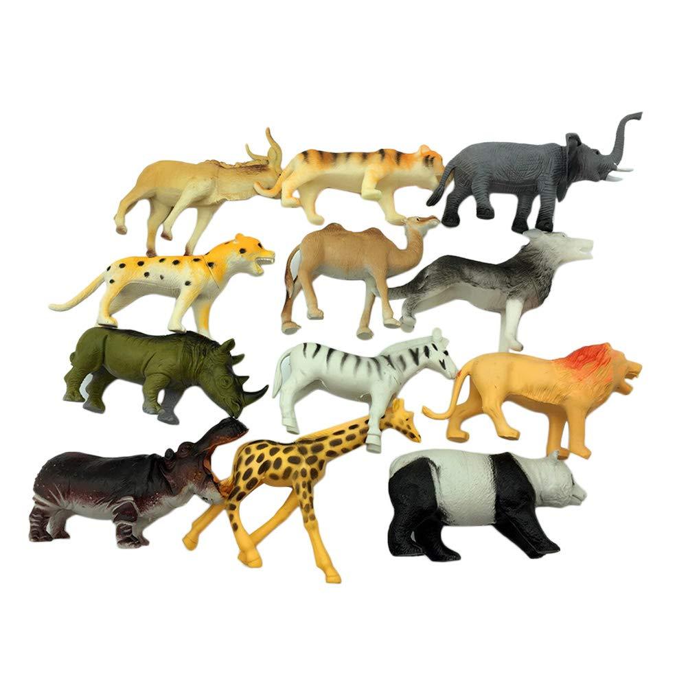 Toyvian 12pcs Animaux de la Ferme Chiffres Figure Animal Safari Jouets éducatifs d'apprentissage pour Enfants Enfants